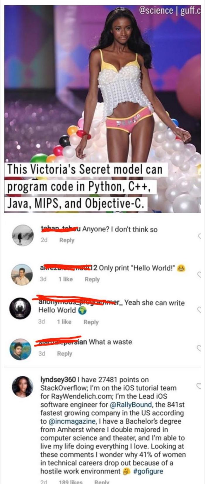 savage putdowns supermodel programmer