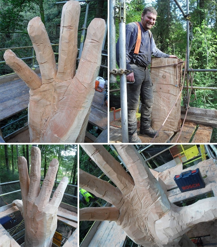 simon orourke tree hand sculpture