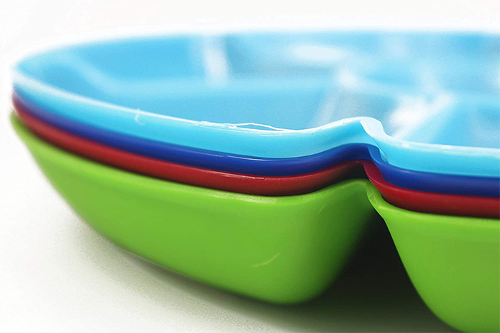 stackable multi-section serving trays