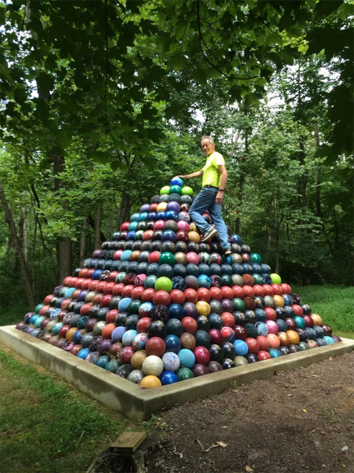 strange collections bowling balls pyramid