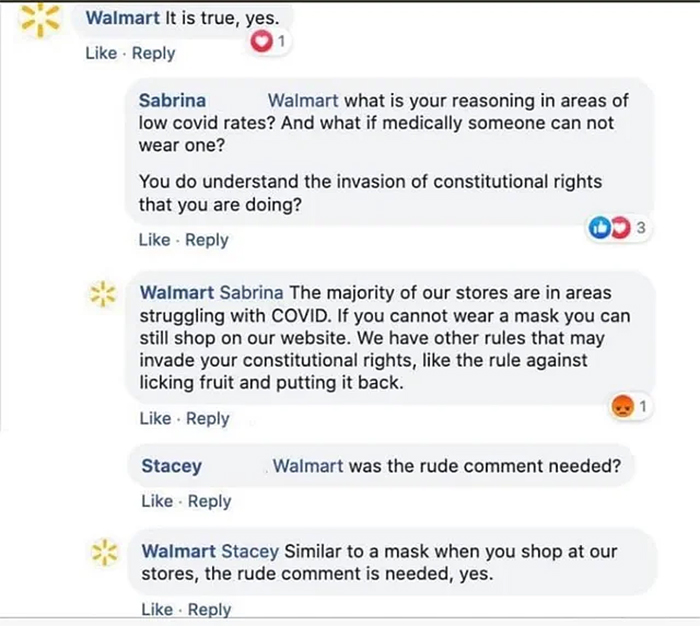 walmart claps back at anti-maskers