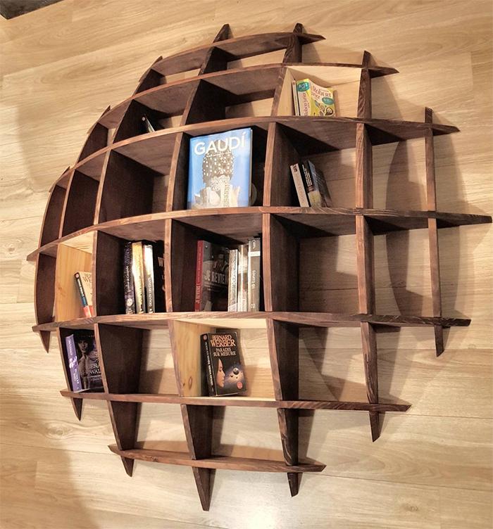 wood shelf semi-circular design