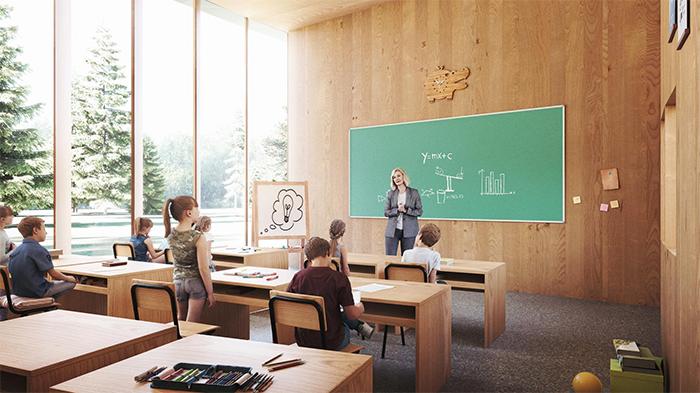 wooden tree-house school modular design