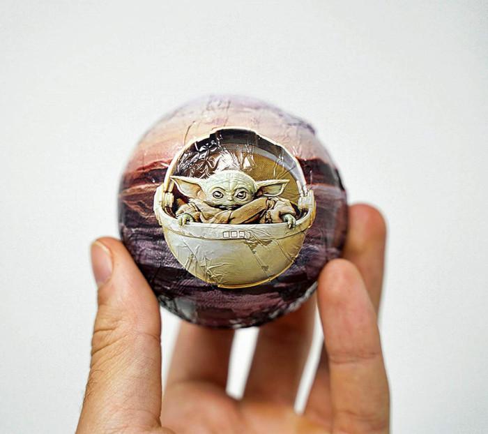 wrapped baby yoda hot cocoa bomb