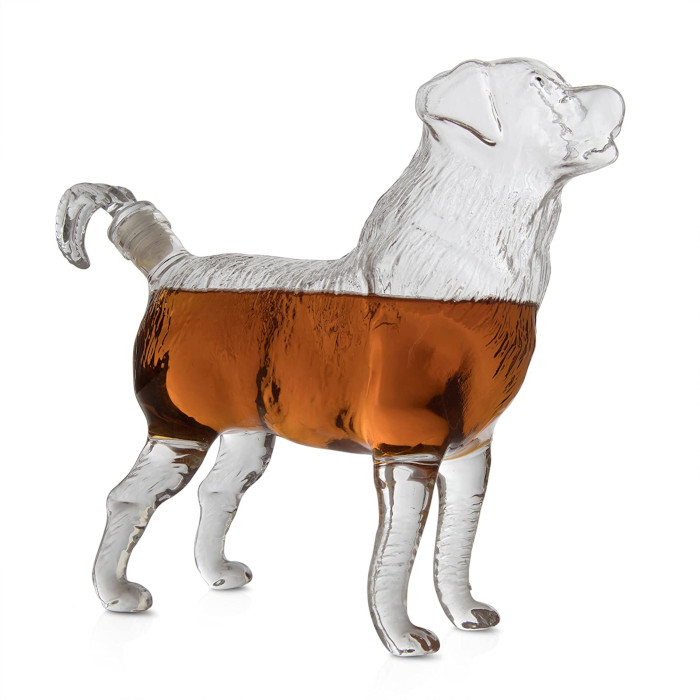 Boxer dog whiskey decanter by the wine savant with whiskey poured in