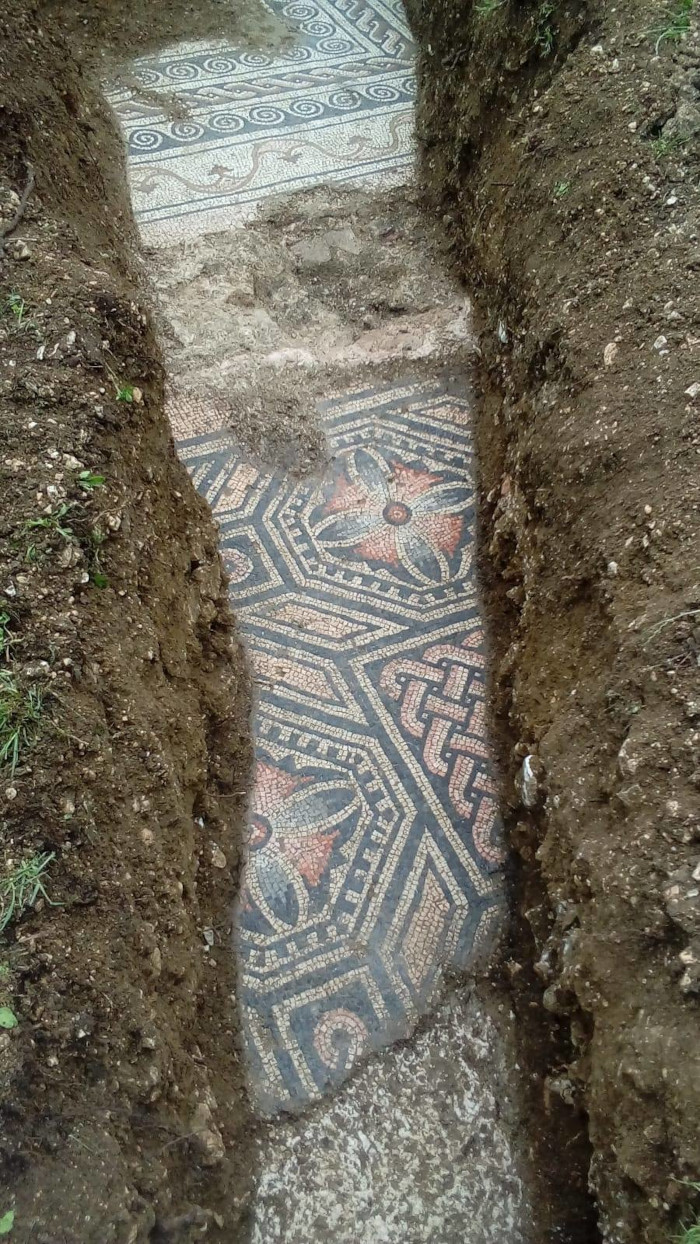 ancient roman mosaic floor with intricate details