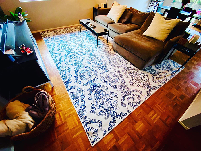brian altano ruggable floor mat in living room