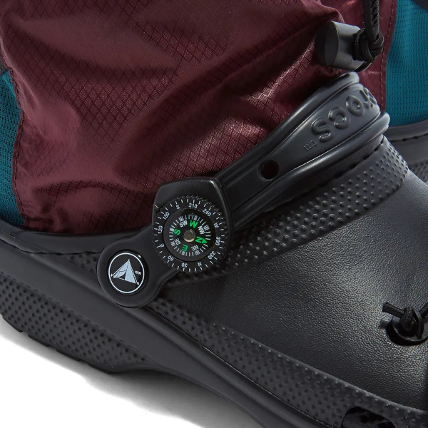 close up shot of the jibbitz accessories on the camping crocs