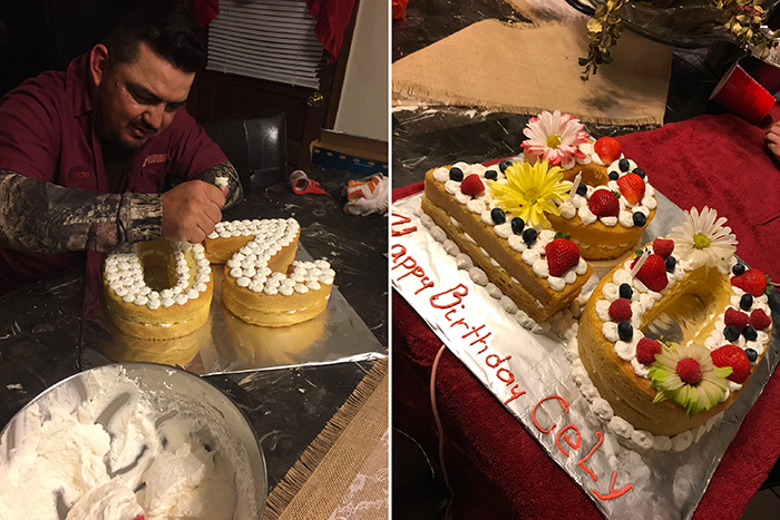 dad makes fancy cake for daughter