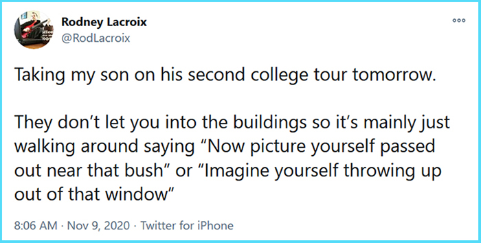 funny stories college tour