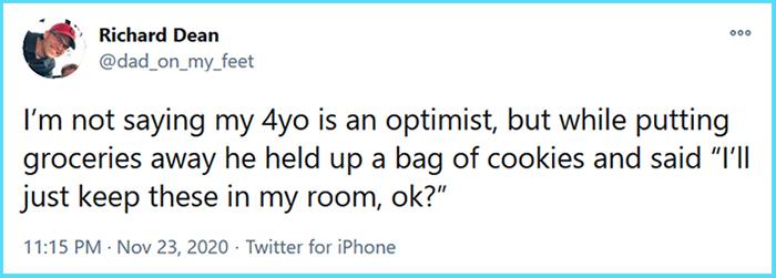 funny parent stories optimist kid