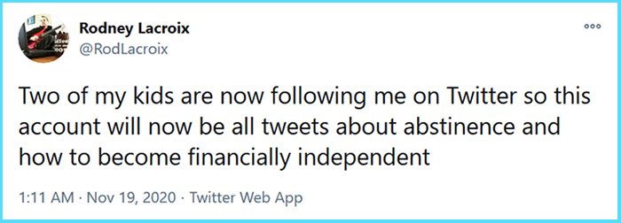 funny parenting tweets financially independent