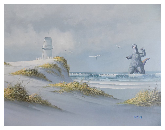 godzilla on the beach altered art painting by arrowhead vintage and goods