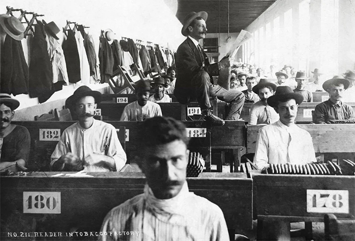 hired lector reads to illiterate cigar makers