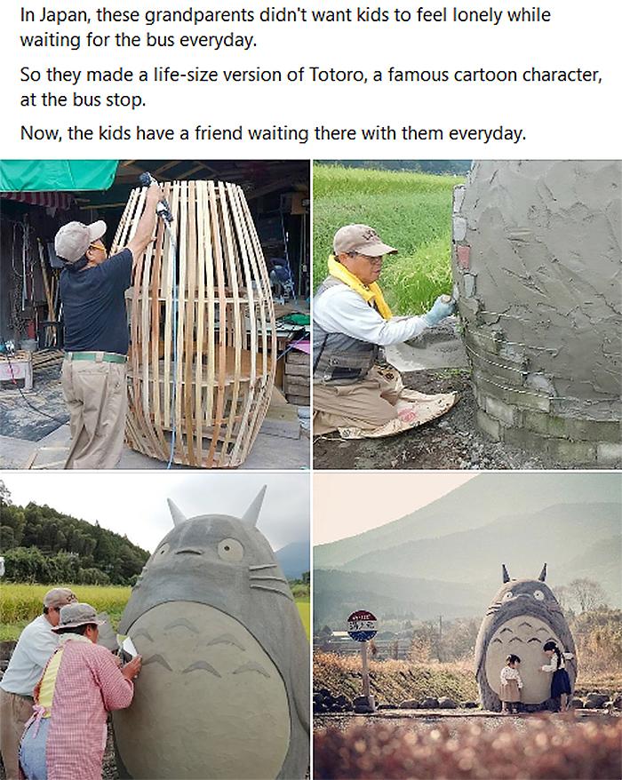 japanese grandparents made totoro figure bus stop