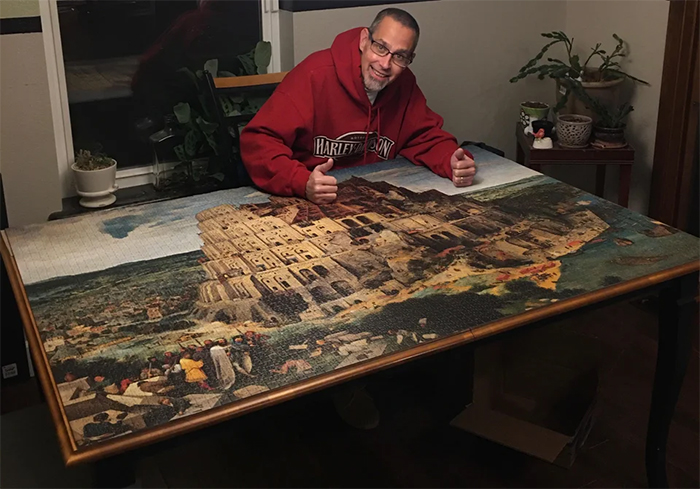 jigsaw puzzle perfectly fits into table