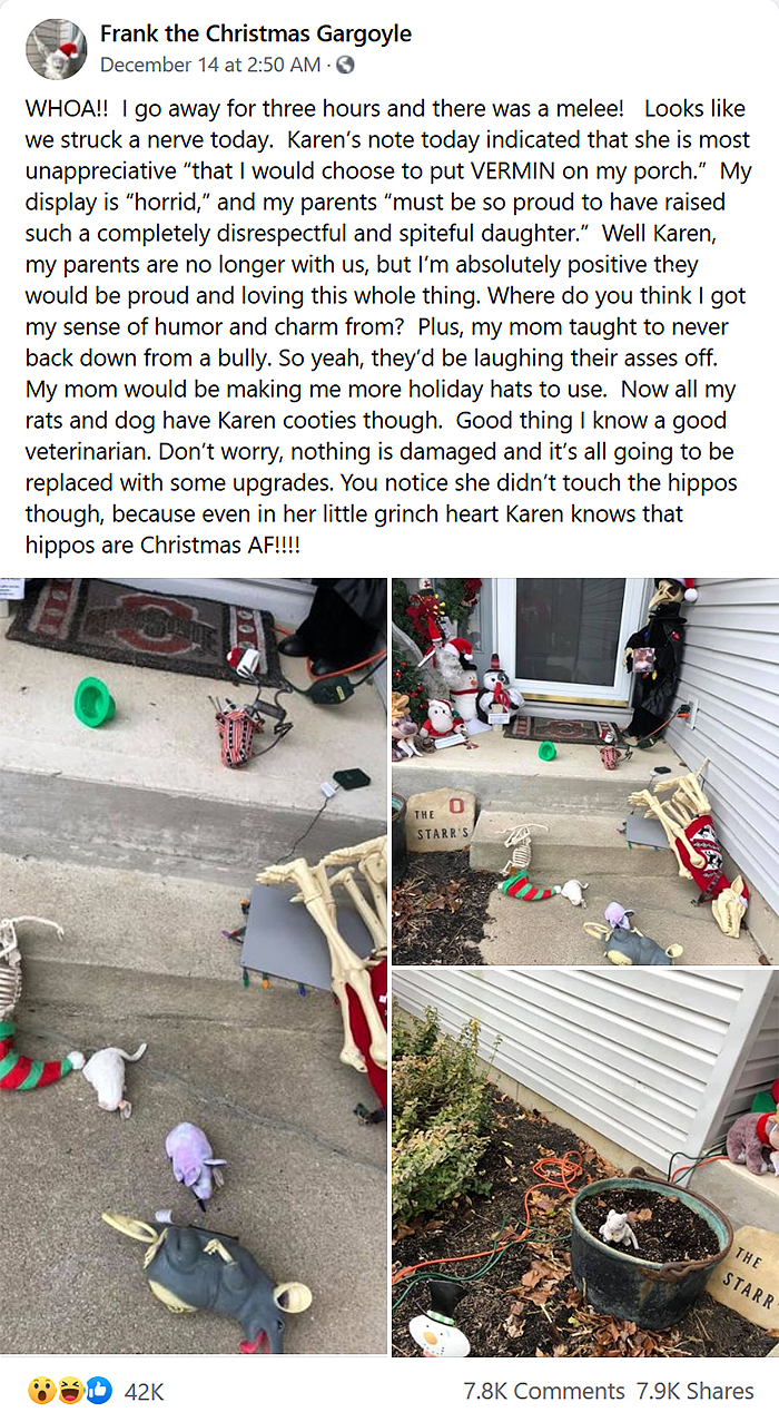 karen destroys neighbor christmas decors