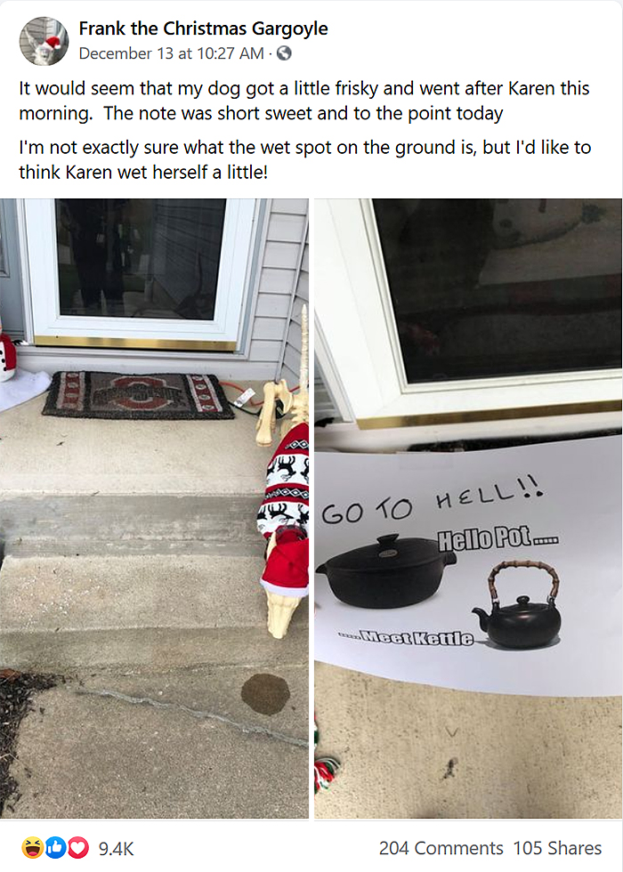 karen disapproves neighbor christmas decors
