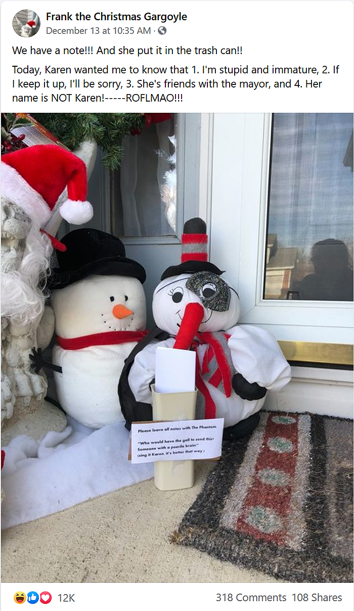 karen leaves a note in neighbor porch