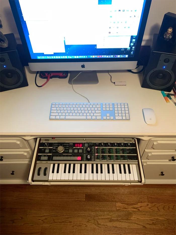 keyboard fits into drawer desk