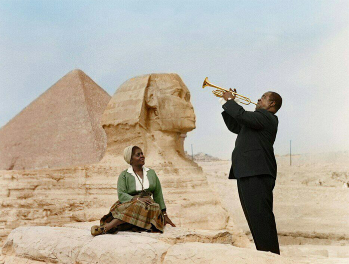 louis armstrong and wife in egypt