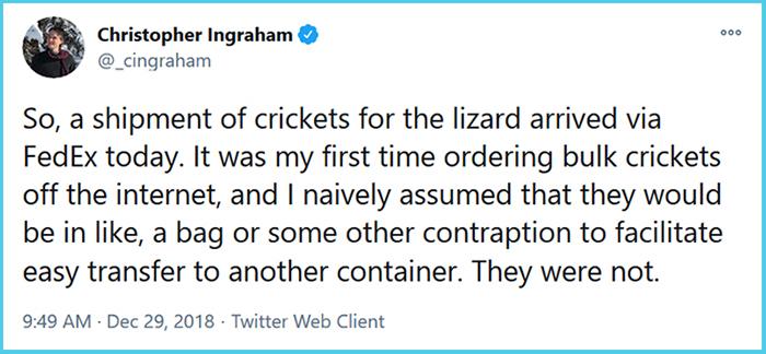 man orders bulk crickets off the internet
