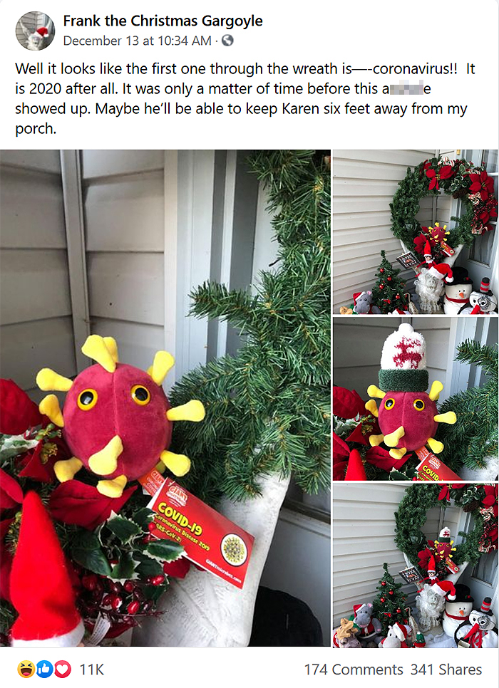 neighbor coronavirus plushie christmas decor