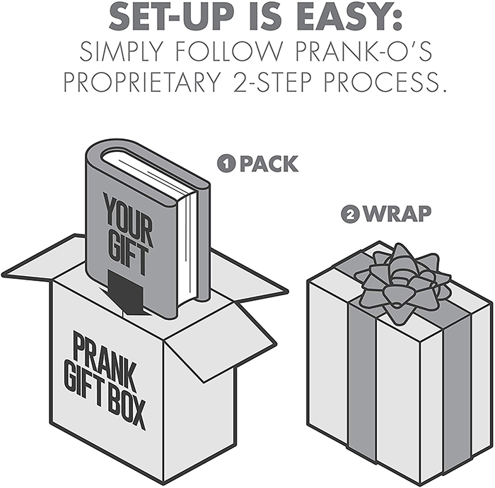prank gift box two-step setup process