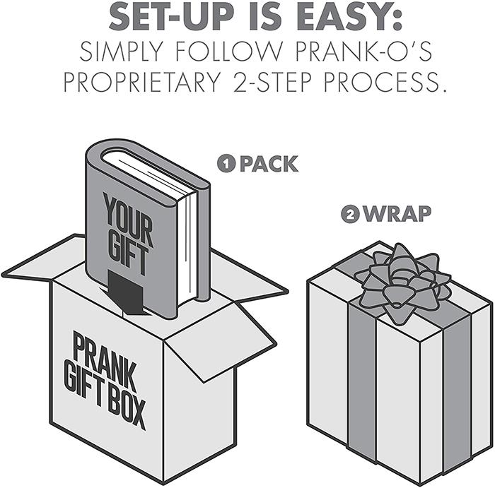 prank-o prank gift box two-step setup process