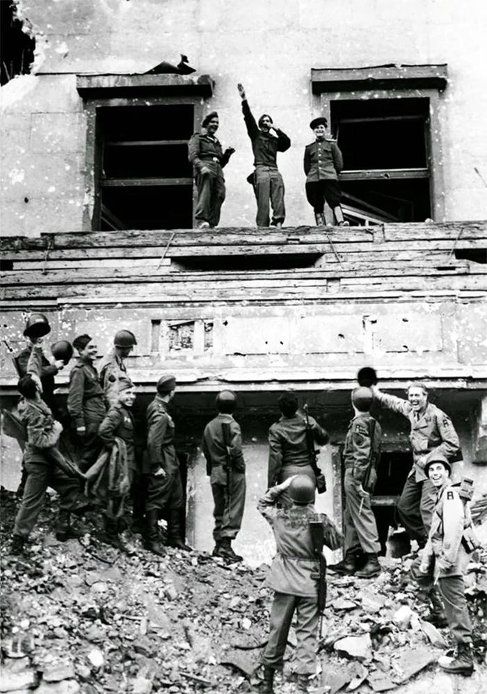 rare photos allied soldier mocking adolf hitler