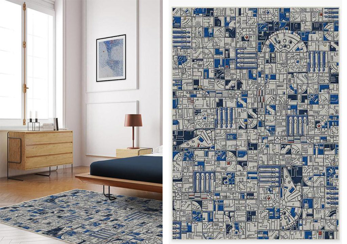 ruggable smugglers geo r2d2 blue floor mat
