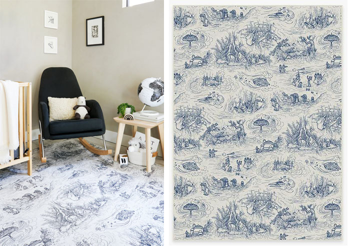 ruggable star wars themed rug toile blue