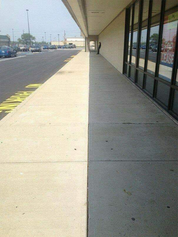 shadow in line with walkway
