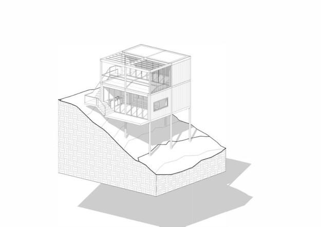sketch of the movikheien cabin aka the floating cabin
