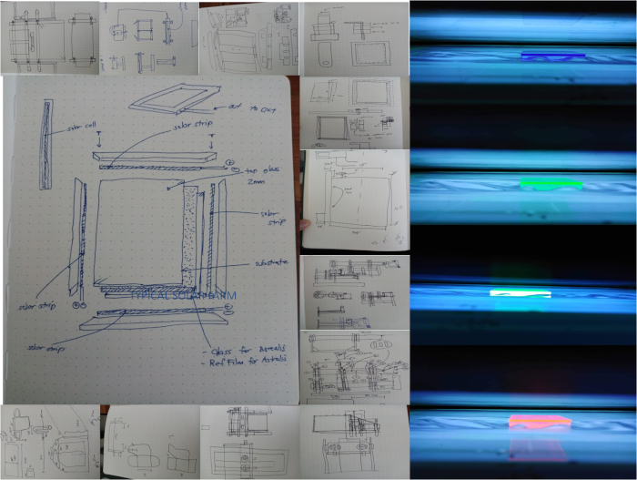 sketches of rigs and prototypes for the AuREUS solar panels
