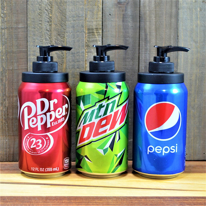 soda can soap dispensers