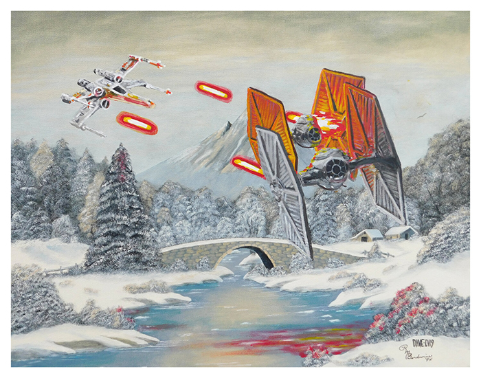 dogfight on hoth painting by arrowhead vintage and goods