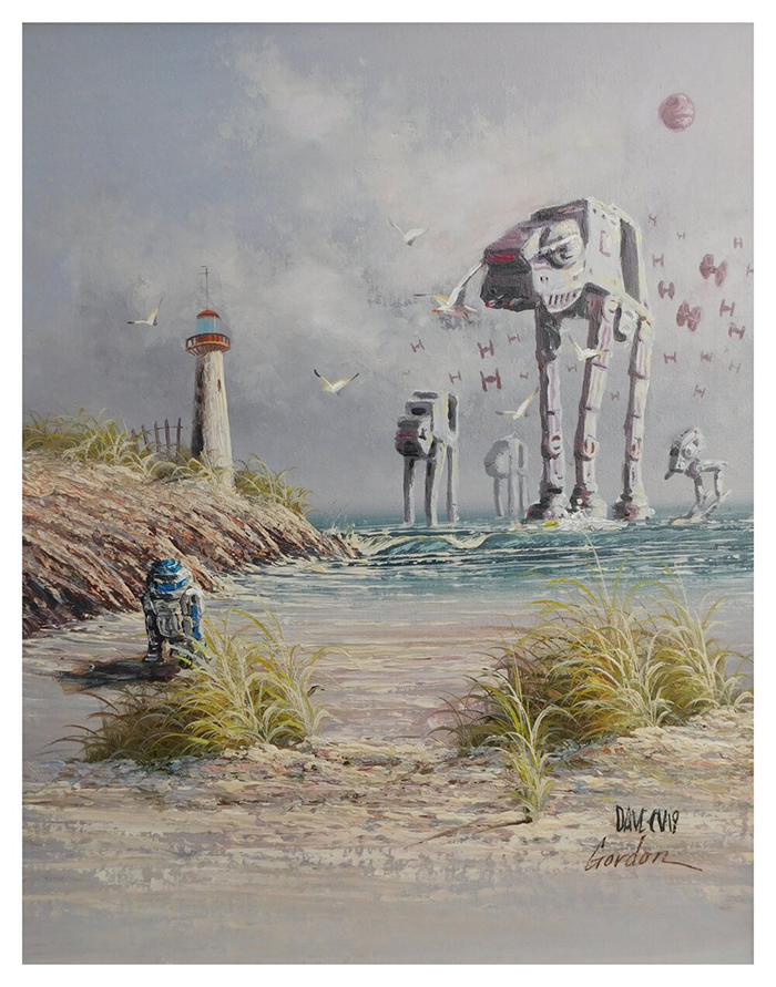 star wars r2d2 versus the empire painting by arrowhead vintage and goods