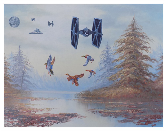 star wars tie fighter scaring ducks painting by arrowhead vintage and goods