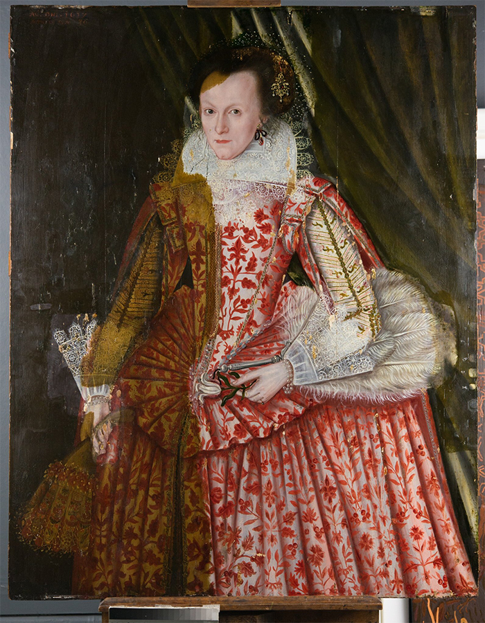 the lady in red 1618 painting art restoration