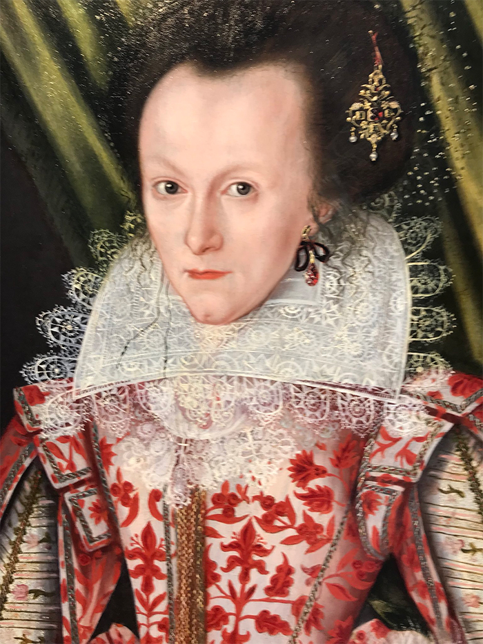 the lady in red painting art restoration