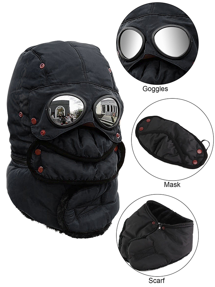 thermal headwear with googles mask scarf
