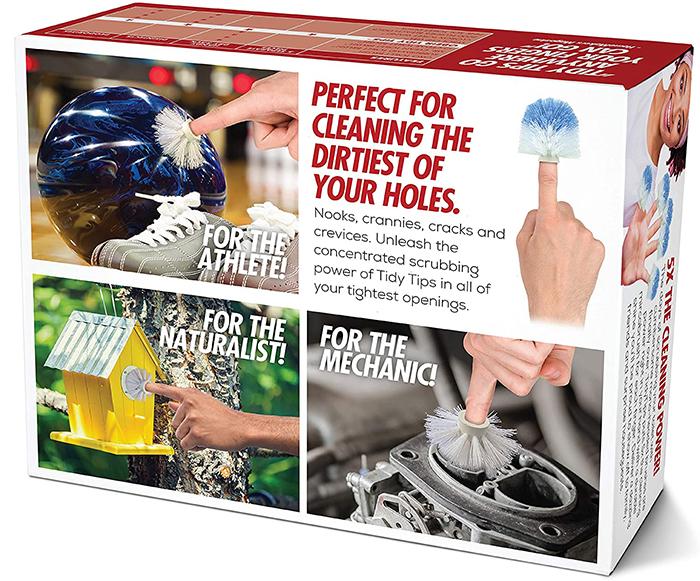 tidy tips fingertip brushes prank gift box back