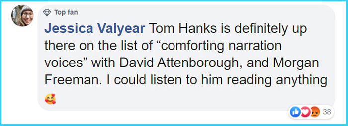 tom hanks reads nice tweets comment jessica