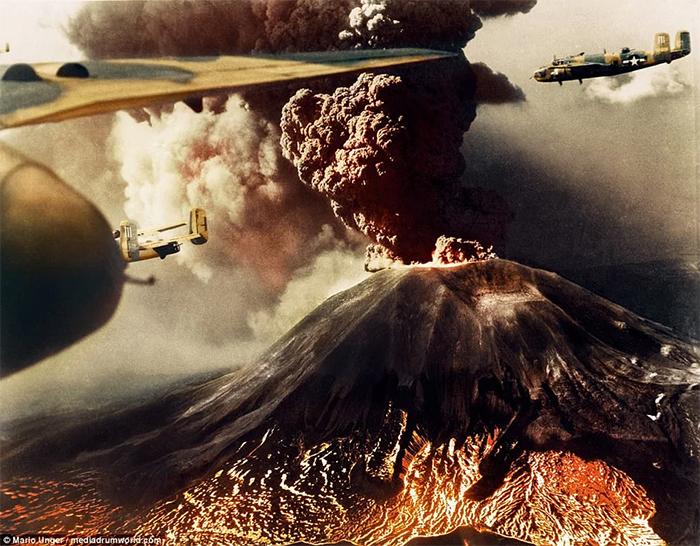 volcano erupts during battle