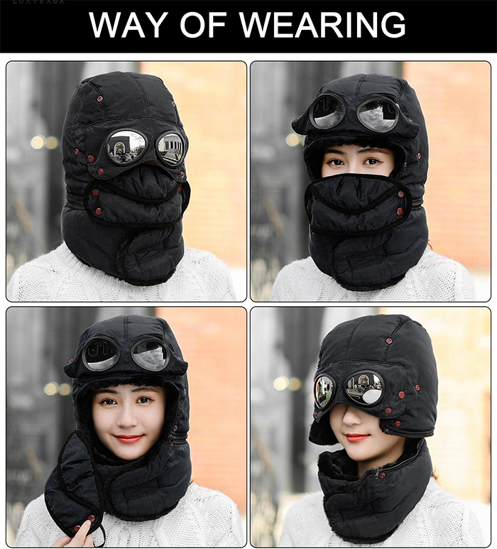 winter trapper hat ways of wearing