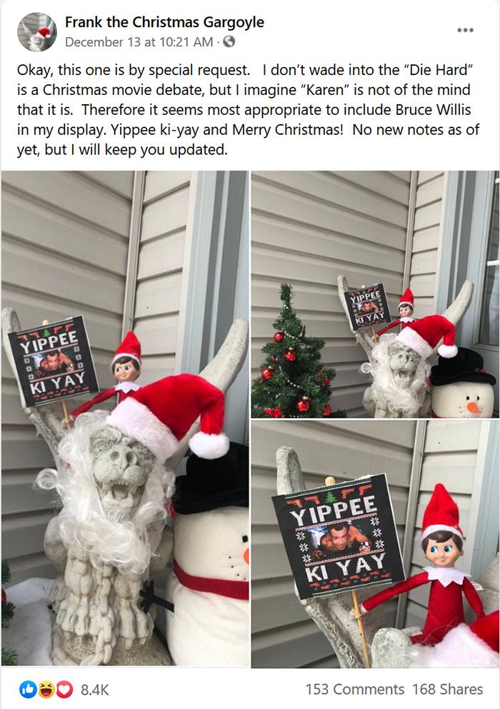 woman fires back at entitled neighbor christmas gargoyle