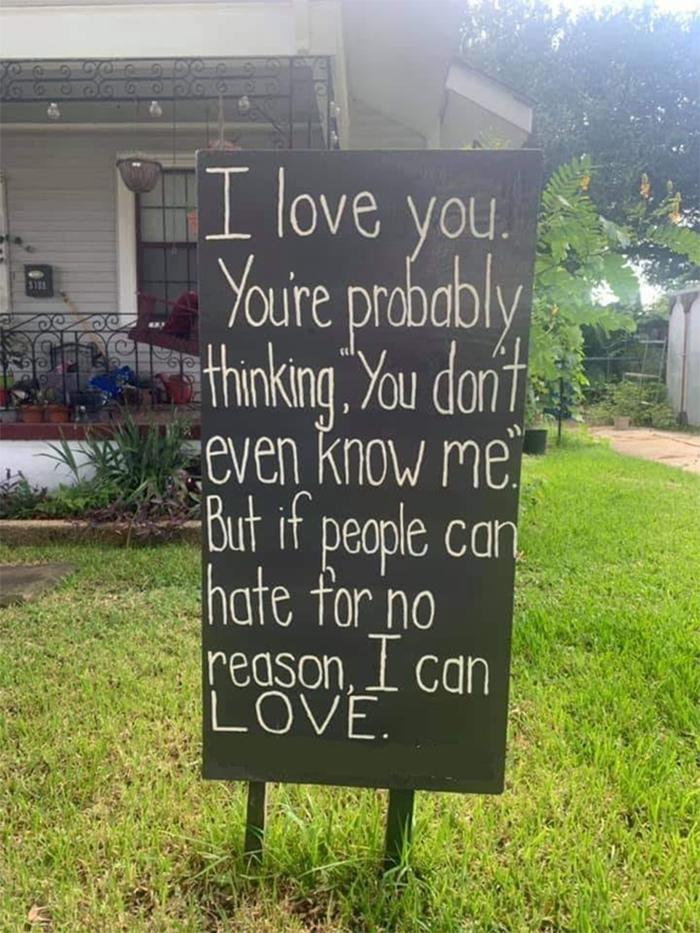 yard sign love for no reason