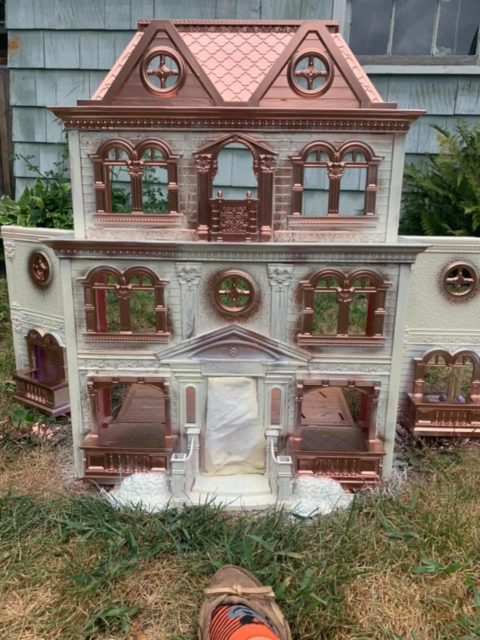 2nd dollhouse repainted with cream and rose gold color scheme