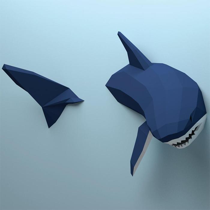 3d papercraft shark digital file